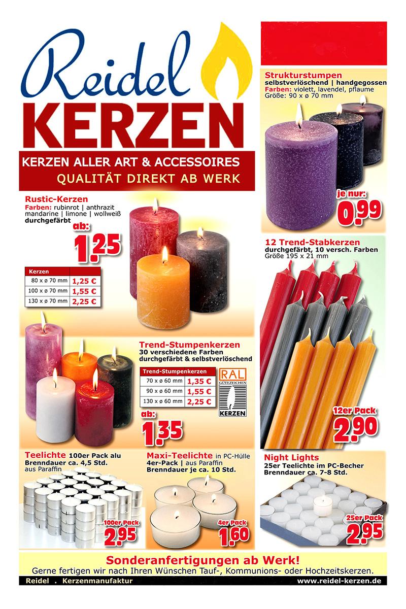 Kerzen Werksverkauf.Reidel Kerzen Prospekt Seite 1 Web Reidel Kerzen Nußloch
