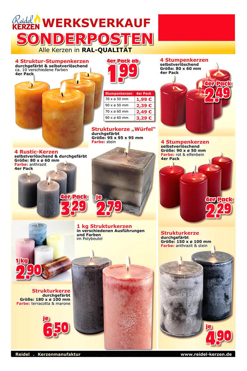 Kerzen Werksverkauf.Reidel Kerzen Prospekt Seite 2 Web Reidel Kerzen Nußloch